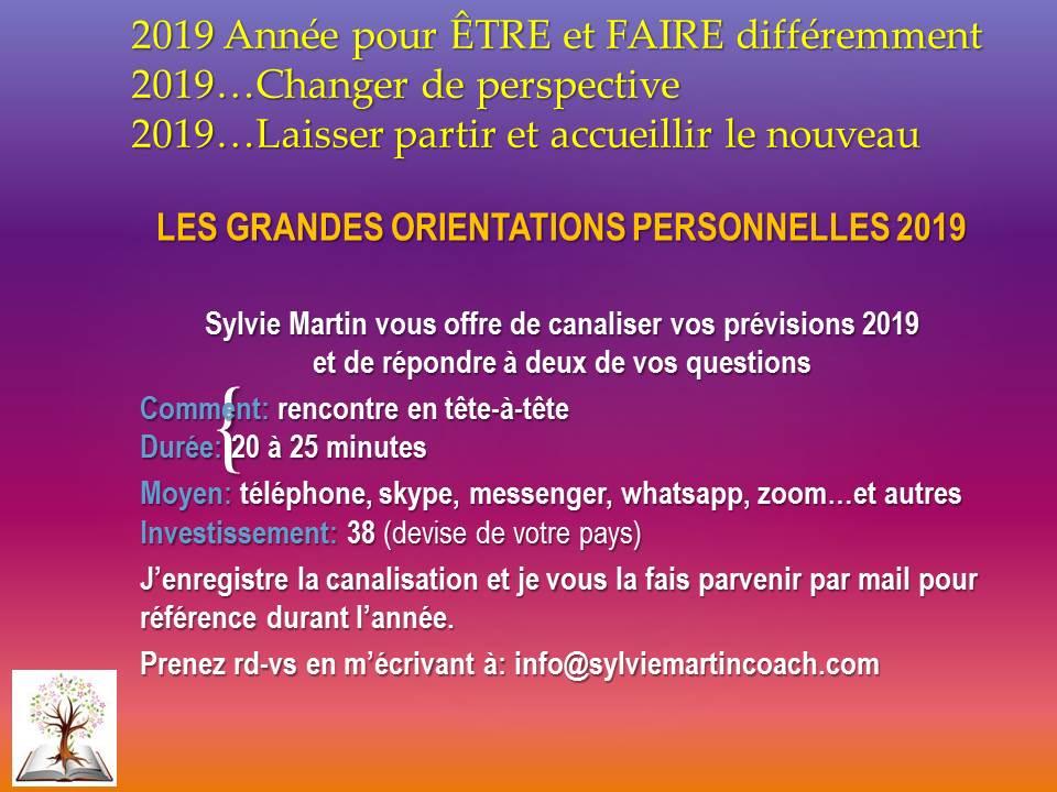 LES GRANDES ORIENTATIONS PERSONNELLES 2019
