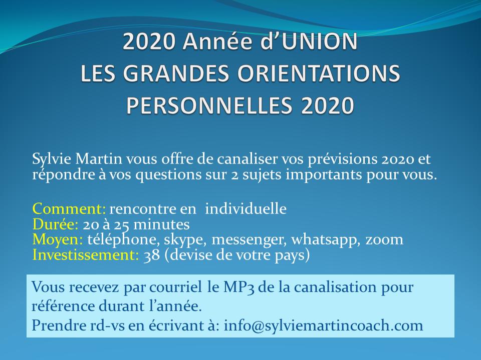 LES GRANDES ORIENTATIONS PERSONNELLES 2020