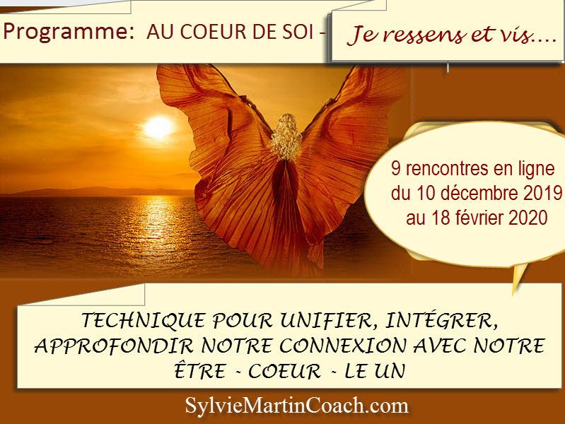 Programme AU COEUR DE SOI – J'AI CONSCIENCE DE MA LUMIÈRE – commence 10 décembre 2019